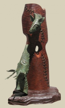 Subrata Paul | Relation Sculpture by artist Subrata Paul on Bronze, Wood | ArtZolo.com