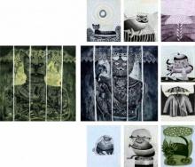 art, beauty, printmaking, paper, etching, animal, cat