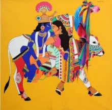 Figurative Acrylic Art Painting title 'Krishna Radha On Cow' by artist Mohammed Osman