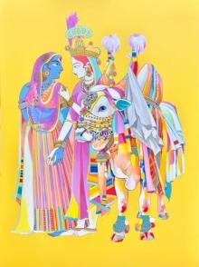 Religious Acrylic Art Painting title Radha Krishna 2 by artist Mohammed Osman