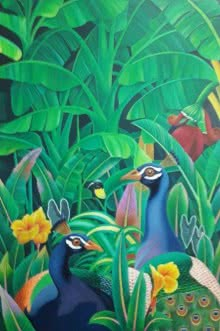 Animals Acrylic Art Painting title 'Peacock' by artist Murali Nagapuzha