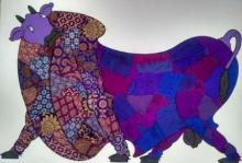Animals Mixed-media Art Painting title 'Purple Bull Banarasi Silk' by artist Sreekanth Kurva