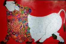 Animals Mixed-media Art Painting title 'Red Bull' by artist Sreekanth Kurva