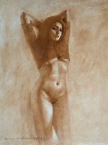 Nude Oil Art Painting title 'Untitled 19' by artist Dilip Dudhane