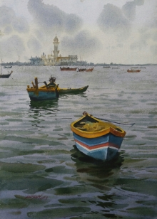 Seascape Watercolor Art Painting title 'A Sunny Day And Boat 2' by artist Abhijit Jadhav