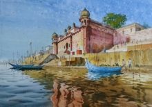 Cityscape Watercolor Art Painting title 'Glow Of Varanasi 1' by artist Abhijit Jadhav