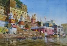 Cityscape Watercolor Art Painting title 'Glow Of Varanasi 2' by artist Abhijit Jadhav