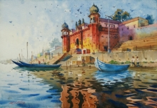 Cityscape Watercolor Art Painting title 'Glow Of Varanasi 3' by artist Abhijit Jadhav