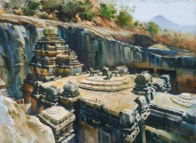 Cityscape Watercolor Art Painting title 'Kailash Temple Ellora Caves' by artist Abhijit Jadhav
