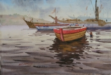 Seascape Watercolor Art Painting title 'Varanasi Boats' by artist Abhijit Jadhav