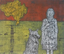 Durgaprasad Bandi | Girl With Her Pet In A Landscape Printmaking by artist Durgaprasad Bandi | Printmaking Art | ArtZolo.com