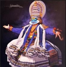 Prashant Yampure | Acrylic Painting title Dance Kathakali on Canvas | Artist Prashant Yampure Gallery | ArtZolo.com