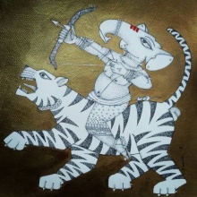 Religious Acrylic-ink Art Painting title 'Ganesh 1' by artist Samik De