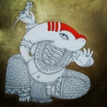 Religious Acrylic-ink Art Painting title 'Ganesh 2' by artist Samik De