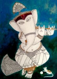 Religious Acrylic-ink Art Painting title 'Ganesh 3' by artist Samik De