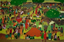 Untitled 14 | Painting by artist Sujit Das | tempera | Cloth