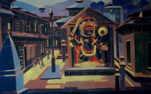 Untitled 18 | Painting by artist Sujit Das | tempera | Cloth