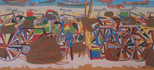 Cityscape Tempera Art Painting title Untitled 27 by artist Sujit Das