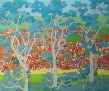 Nature Acrylic Art Painting title 'Untitled 31' by artist Sujit Das