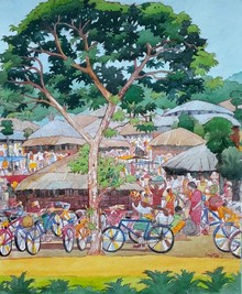 Cityscape Watercolor Art Painting title Untitled 34 by artist Sujit Das
