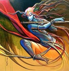art, painting, acrylic, canvas, religious, krishna