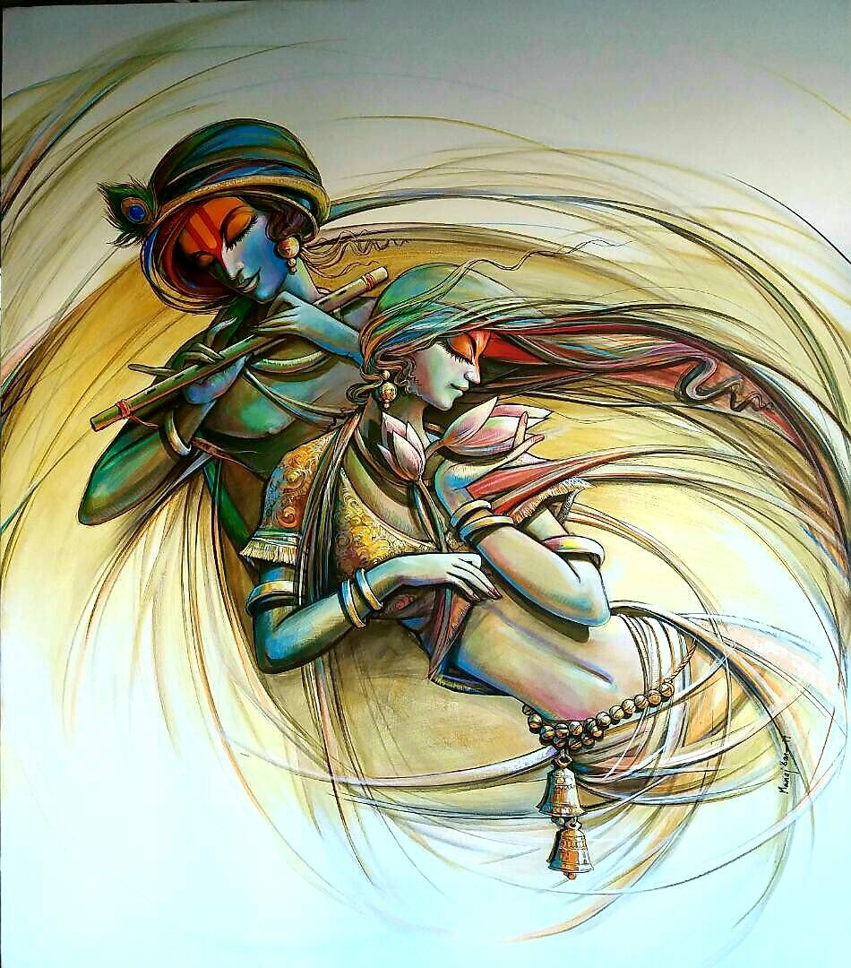 radha krishna 3 by artist manoj das religious art acrylic paintings