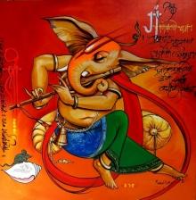 Religious Acrylic Art Painting title Lord Ganesha by artist Manoj Das