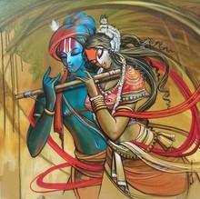 Religious Acrylic Art Painting title Radha Krishna 10 by artist Manoj Das