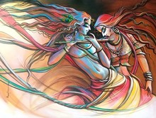 Religious Acrylic Art Painting title Radha Krishna 12 by artist Manoj Das