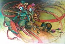 Religious Acrylic Art Painting title 'Radha Krishna 6' by artist Manoj Das