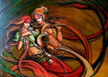Religious Acrylic Art Painting title 'Radha Krishna 7' by artist Manoj Das