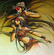 Manoj Das Paintings | Acrylic Painting - Radha krishna 4 by artist Manoj Das | ArtZolo.com