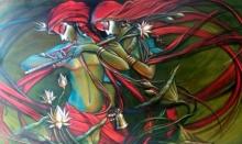 Manoj Das Paintings | Acrylic Painting - Radha krishna 6 by artist Manoj Das | ArtZolo.com