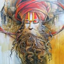 Religious Acrylic Art Painting title 'Sadhu 3' by artist Manoj Das