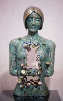 Brass, Copper Sculpture titled 'Inner Beauty' by artist Dinesh Singh