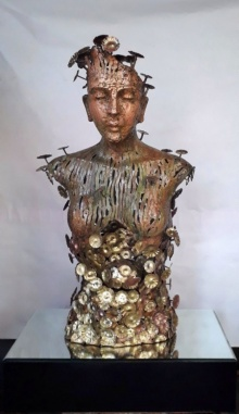 Brass, Copper Sculpture titled 'Lady' by artist Dinesh Singh