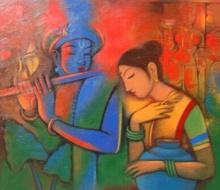Radha Krishna 1 | Painting by artist Balaji Ubale | acrylic | Canvas