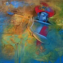 Religious Acrylic Art Painting title 'Krishna Playing Flute 7' by artist Balaji Ubale