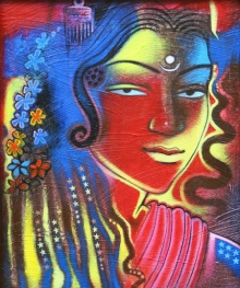 Figurative Acrylic Art Painting title 'Tribal Lady 3' by artist Balaji Ubale