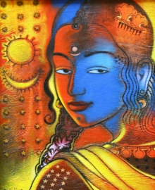 Figurative Acrylic Art Painting title 'Tribal Lady 4' by artist Balaji Ubale