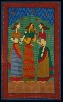 Jasminder Kaur | Three Friends Printmaking by artist Jasminder Kaur | Printmaking Art | ArtZolo.com