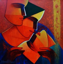 Figurative Acrylic Art Painting title 'Life 148' by artist Nawal Kishore