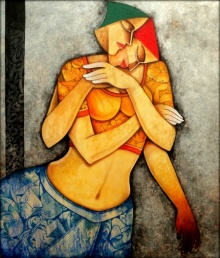 Figurative Acrylic Art Painting title 'Life 81' by artist Nawal Kishore