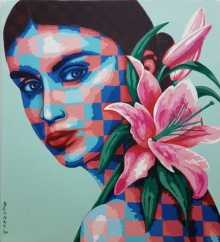 Figurative Acrylic Art Painting title Lady And Lilies by artist Sonaly Gandhi