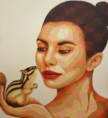Figurative Acrylic Art Painting title 'Lady And Squirrel' by artist Sonaly Gandhi