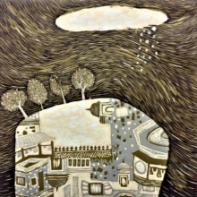 art, printmaking, woodcut, landscape, dream city