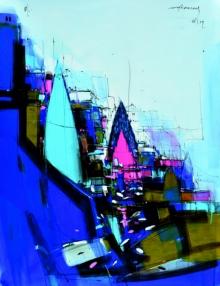 Dheeraj Yadav Paintings | Mixed-media Painting - Abstract Cityscape 2 by artist Dheeraj Yadav | ArtZolo.com