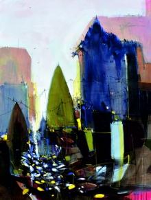 Dheeraj Yadav Paintings | Mixed-media Painting - Abstract Cityscape 3 by artist Dheeraj Yadav | ArtZolo.com
