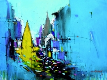 Cityscape Mixed-media Art Painting title 'Abstract Cityscape 5' by artist Dheeraj Yadav