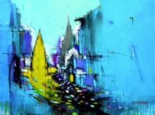 Dheeraj Yadav Paintings | Mixed-media Painting - Abstract Cityscape 5 by artist Dheeraj Yadav | ArtZolo.com